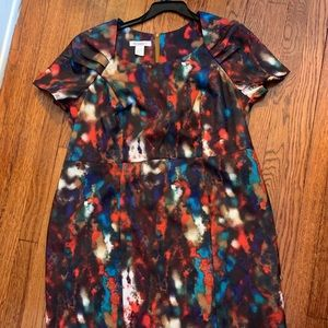 Roaman's Multi-Color Short Sleeve Midi Dress